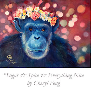 "Poster Image of ""Nesting for NIne"" - a portrait of Jody Chimpanzee by Cheryl Feng"